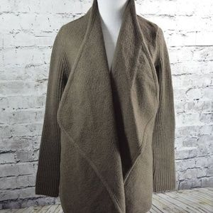 VINCE Brown Boiled Wool Ribbed Open Sweater Coat